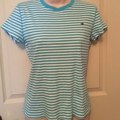 Tommy Hilfiger White and Turquoise  Tee.  Size LG Ready for summer with this white and turquoise Tee.  Comfy and trendy. Tommy Hilfiger Tops Tees - Short Sleeve