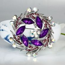 2014 New Fashion Silver Alloy Purple Rhinestone Flower Exquisite Women Wedding Brooches Wholesale Price Brooch Pin(China (Mainland))