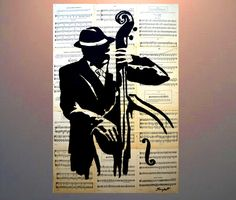 """Painting on Old Music Book Pages Collage Book Pages attached on Canvas and painted with Acrylic Paint  24"""" x 36"""" by ANDYARTSTUDIO on Etsy"""