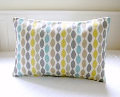 blue retro decorative pillow cover grey yellow lime lumbar cushion cover 12 x 18 inch via Etsy