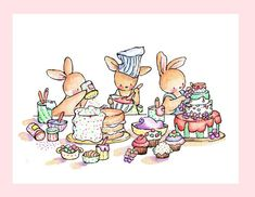 Children Art Print. Baking Day. PRINT 8X10. Nursery by LoxlyHollow