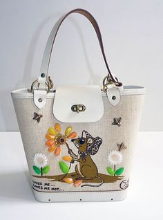 "Vintage Enid Collins Bucket Purse, With Mouse, ""Loves Me...Loves Me Not..."""