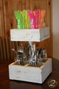 Double Decker Mason Jar Craft Caddy   Visit & Like our Facebook page! https://www.facebook.com/pages/Rustic-Farmhouse-Decor/636679889706127