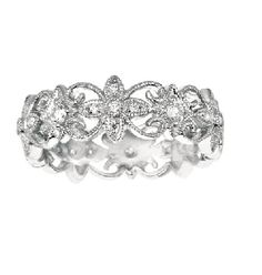 Delicate and flowery White gold, Diamond Ring from the Martin Flyer Timeless Trends Collection.  PR-027378B4W