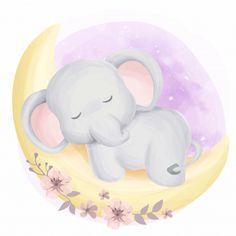 Cute baby elephant sleepy on moon Premium Vector Baby Elephant Drawing, Cute Baby Elephant, Cartoon Elephant, Elephant Art, Elephant Nursery, Nursery Art, Baby Elephants, Indian Elephant, Cute Animal Drawings