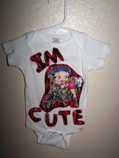 Baby Girl  Betty Boop Im Cute Chopper Motorcycle by HodgePodgeBaby