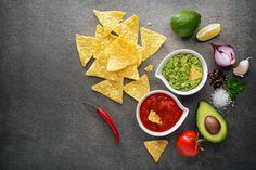 avocado guacamole and tomato salsa