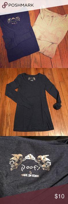 2 long sleeve tops Long sleeve-vneck-boscovs-heather blue-tan Poof! Tops Tees - Long Sleeve