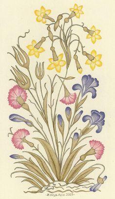 Hülya Aziz-Yıldız Çiçeği, 2009. #hulyaaziz #drawing #miniature #flowers #art #karamemi