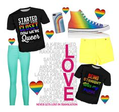 """""""LOVE"""" by ruemeridian ❤ liked on Polyvore featuring J Brand, Converse, Ann Taylor, Marc Jacobs and pride"""