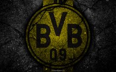 Download wallpapers Borussia Dortmund, BVB 09, logo, art, Bundesliga, soccer, football club, FC Borussia Dortmund, asphalt texture, BVB