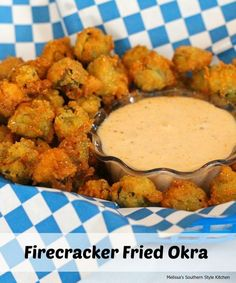 Southern food experts know that nothing beats a healthy serving of fried okra, and this recipe for Firecracker Fried Okra will have flavor exploding in your mouth. If you are unfamiliar with how to make okra, the secret is to use really fresh okra. Side Dish Recipes, Vegetable Recipes, Easy Recipes, Oven Recipes, Healthy Recipes, Melissas Southern Style Kitchen, Veggie Fries, Veggie Burgers, Southern Recipes