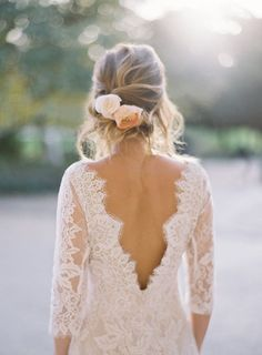 Lace Patchouli Wedding Dress from Romantique by Claire Pettibone with beautiful low back and 3/4 sleeves.