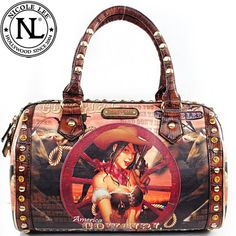 Click Here and Buy it On Amazon.com $59.99 Amazon.com: Nicole Lee Cowgirl Wheel Boston Bag Western Gitana Vintage Animal Print Rhinestone Gemstone Stud Detailed Unique Hollywood Celebrity Classic Vintage Illustrative Print Tote Satchel Boston Handbag Purse with Adjustable Shoulder Strap in Coffee Brown: Clothing