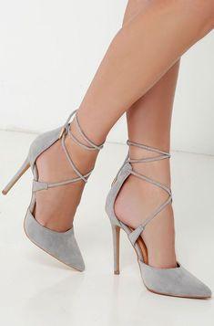9407d78cb4c The Leading Role Grey Suede Lace-Up Heels! Soft vegan suede composes a  split