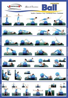 FITNESS BALL EXERCISES - Check out this useful visual guide to learn the best exercises to be performed with your fitness or swiss ball! - If you like this pin, repin it and follow our boards :-) #Fas (Pilates Frases)