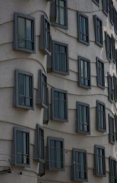 Window detail on the 'Dancing Buildings' in Prague