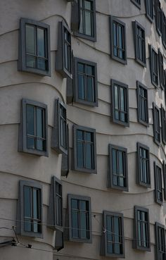 Window detail on the 'Dancing Buildings' in Prague