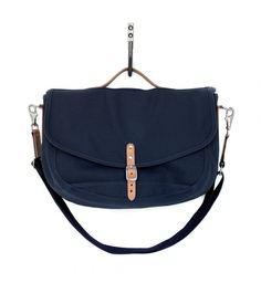 Post Bag Navy Canvas and Natural Horween® HS Leather Heritage Brands, Saddle Bags, Shopping Bag, Menswear, Navy, Canvas, My Style, Womens Fashion, Natural