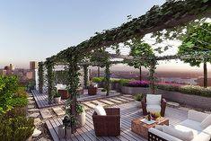 Rooftop garden, grey decking and vine arbor make a lovely outdoor living space. Backyard Pergola, Backyard Landscaping, Pergola Shade, Modern Landscaping, Sky Garden, Home And Garden, Rooftop Deck, Rooftop Gardens, Green Apartment