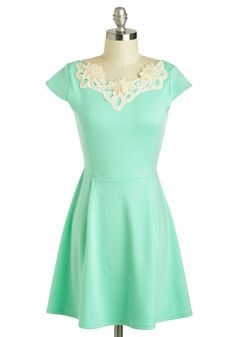 Akin to Audrey Dress - Pastel, Short, Mint, Tan / Cream, Solid, Crochet, Pearls, A-line, Cap Sleeves, Daytime Party, Spring