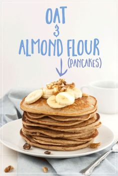 Oat and Almond Flour Pancakes | Gluten free pancakes made with oat and almond flour. These recipes are so moist and delicious, you won't believe they're good for you! These skinny pancakes can easily become vegan pancakes with our easy swaps.