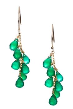 14K Yellow Gold Green Onyx Drop Earrings