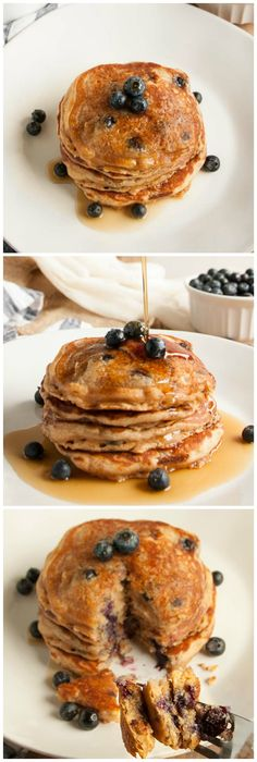 Whole Wheat Pancakes (with blueberries!) - These thick, rich, delicious pancakes are a breakfast winner both in taste and nutrition, made with whole wheat flour, Greek yogurt & blueberries.