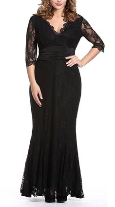 cd8047256dd Anfee Women s V Neck 2 3 Sleeves Plus Size Evening Party Midi Lace Dresses  at Amazon Women s Clothing store