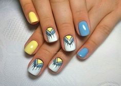 Blue and yellow nails Ethnic nails Indian nails Interesting nails Manicure nail design Nails with ornament Original nails Party nails Manicure Nail Designs, Manicure E Pedicure, Pedicure Designs, Nail Art Design Gallery, Best Nail Art Designs, Indian Nail Designs, Hair And Nails, My Nails, Alien Nails