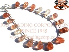Tanzanian Sunstone Faceted Drops (Quality AA) Shape: Drops Faceted Length: 18 cm Weight Approx: 6 to 8 Grms. Size Approx: 6x9 to 6x10 mm Price $31.20 Each Strand