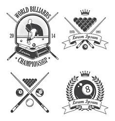Set of billiards emblems labels and logo. Pool vector by IvanMogilevchik on VectorStock®