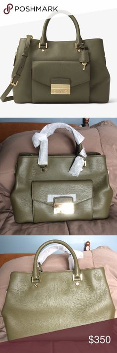 Michael Kors Haley RARE Olive Green Bag! Love all the colors it comes in, even the black, just not the pink!
