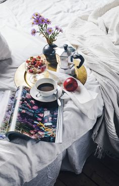 Swap coffee for tea, add a cat, and this looks like an amazing start to a Sunday :)