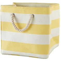Stripes Around the Cube Bin (Yellow) ❤ liked on Polyvore featuring home, home decor, small item storage, yellow home accessories, yellow bin and yellow home decor