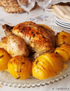 It All Tastes Greek To Me: Chicken Roast with Herbs and Hasselback Potatoes Captain Cook Hasselback Potatoes, Lemon Chicken, Base Foods, Mediterranean Recipes, Greek Recipes, Main Dishes, Chicken Recipes, Roast, Food And Drink