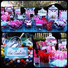 "Another great candy bar! We love the labels on the candies and how adorable the pink lollipops look. A candy bar is an easy (and inexpensive way) to add whimsy, character and FUN to a sweet sixteen. Much cheaper than a photo booth or any other kind of ""add on"" and a lot more fun! It can fit any theme- just find the right candy."