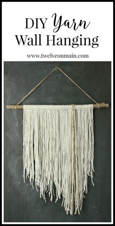 DIY yarn wall hanging. This is so easy to make, you might want to involve your kids....or not:) | http://Twelveonmain.com