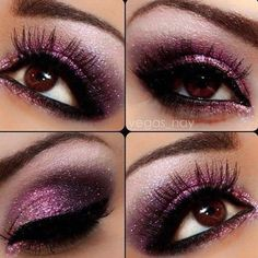 Purple always enhances brown eyes. This looks fun for a night out with the girls :)