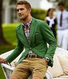 Great plaid shirt with green blazer and shorts.