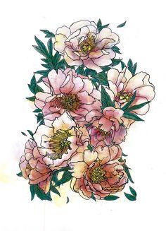 Spring peonies  #flowers #botanical #watercolor #digital #nature