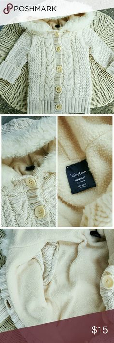 Baby Gap fleece Sweater Super warm and snuggly 💕 .. In great condition other than a couple very faint yellow stains as shown in last pic.. But they are hard to even find! GAP Shirts & Tops Sweaters