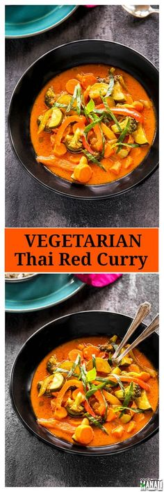 Vegetarian Thai Red Curry - easy one pot meal which gets done with in 30 minutes! Find the recipe on www.cookwithmanali.com