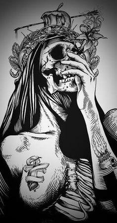 Skull drawing. Playing card poster.