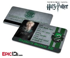Harry Potter Inspired Hogwarts Student ID (Slytherin) [Photo Personalized]