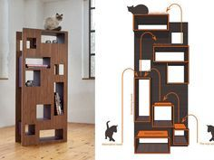 WOHNBLOCK: Reading Cat Cat Tree....Can I get one for the living room? Need it in a darker stain but it's awesome.
