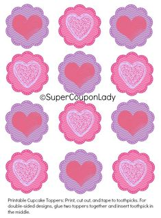Free Printable Valentine Cupcake Toppers! Perfect for Valentine's Day! Just print, cut and stick on cupcakes! http://www.supercouponlady.com/2014/01/free-printable-valentine-cupcake-toppers.html/
