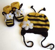 Baby BEE festgelegt Hat und Füßlinge / size für 3-6M von MiaPiccina