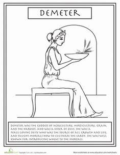 Second Grade Social Studies Worksheets: Greek Gods: Demeter