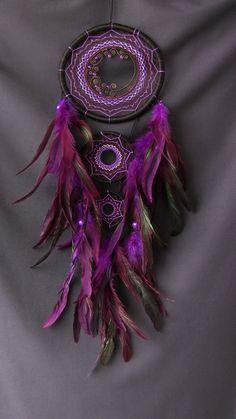 Dream Catcher purple Black hand made by ElizaDreamCatchers